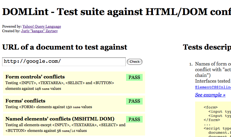 DOMLint test suite